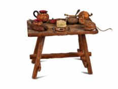 TAVOLO DA TAVERNA IN LEGNO | INNYARD WOODEN TABLE Tavolo da taverna in legno. Accessori: tre salami,