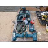 * A Corded Makita Drill Model HP 1631 (with case), Two Makita Cordless, Battery Operated Drills,