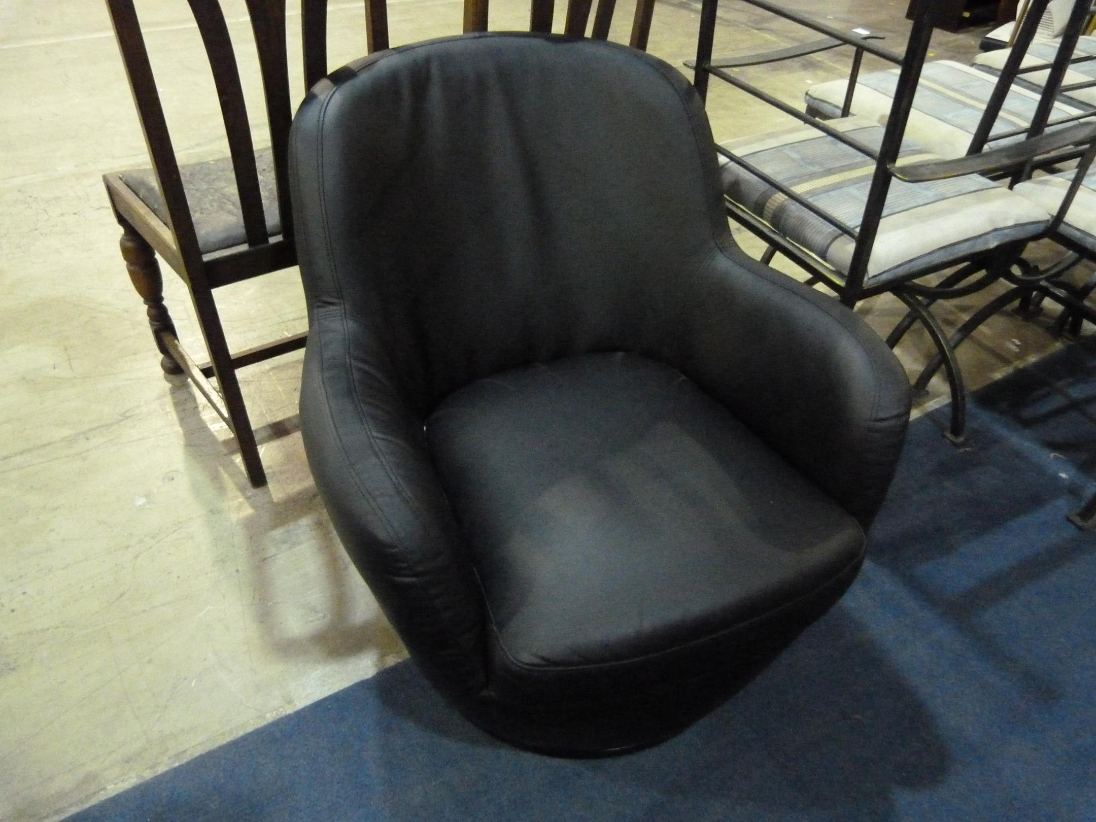 A Faux Leather Spinning Tub Chair Est 163 20 163 40