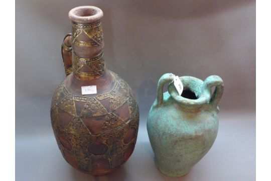 A Large 20th Century Terracotta Flagon Together With A Paper Mache Vase