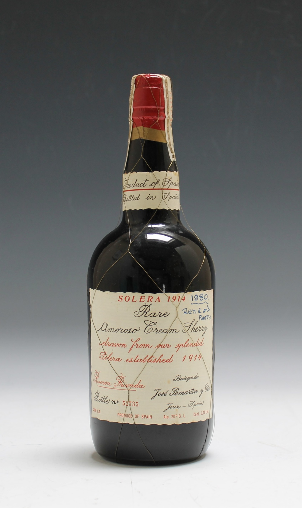 1 BOTTLE OF SOLERA 1914 RARE AMOROSO CREAM SHERRY, drawn from 'our splendid Solera established 1914,