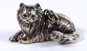 Massiver Anhänger, Katzenform,Silber -800-, 24,3gr., L-4,0 c