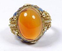 Ring, Silber, Filigran, vergoldet, emailliert, oranger Cabochon, 8,2gr., RG 56