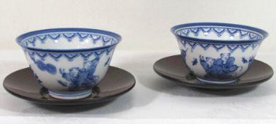 Paar Teeschalen mit U.T., China, gemarkt, Blaumalerei, je H-5,5cm D-9,5cm