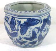 kl. Übertopf, China, Blaumalerei, gemarkt, H-12cm D-14,5cm