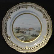 """Ansichtenteller """"Royal Copenhagen"""" mit Schloss Sonderborg, Durchbruchrand, D-25 cm,"""