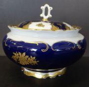 gr. Bonbonniere, kobalt/gold, H-10 cm, D-14 cm