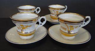 4x Biedermeier-Tassen mit U.T., alle beschriftet, Golddekor, tw. blaue Adlermarke