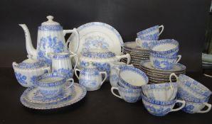 """45 Teile Kaffee/Teegeschirr, """"indisch blau"""" div. Manufakturen und Alter"""