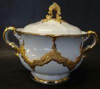 """Prunk-Deckeldose """"Meissen"""", weiss/gold, H-13 cm, D-13 cm, Schleifstriche"""