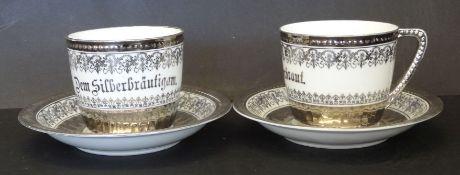 2 grosse Tassen mit Untertassen, Silberhochzeit, KPM Krister