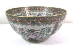 gr. Schale mit aufwendigem Dekor, China, Blumen und Vögel, rote 6 Zeichenmarke, H-14,5cm D-30cm.
