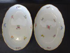 """2x ovale Schälchen """"Meissen"""" Streublume, 1.Wahl, , je 23x15 cm"""