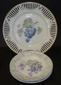 Schale und 3 Teller, Obstdekor, Durchbruchrand,D-25 und 17 cm, 1x Haarriss