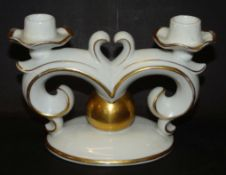 2 flammiger Kerzenhalter, Gold tw. berieben, H-11 cm, B-16 cm