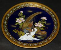 gr. Wandteller,kobalt bemalt mit Phantasievögel, wohl China?, D-37 c