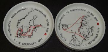 """2 Untersetzer mit Fahrtrouten der SS Hanseatic, 1973, D-10,5 cm, """"Rosenthal"""""""
