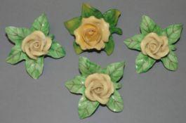 """4x Tischrosen-Dekoration, """"Dresden"""", H-ca. 3,5 cm, D-6 cm"""