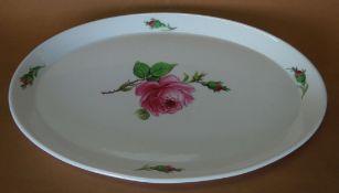 """ovale Platte """"Meissen"""" rote Rose,28,5x19,5 cm, Schwerter Schleifstriche"""