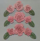3x Tischdekoration, Rosenblüten, Je- L-16 cm, tw. Abplatzer etc