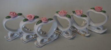 6x Serviettenringe, aufgesetzte Rosenblüte