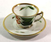 Mocca-Tasse mit U.T., Rosenthal, florale Bemalung, H-4,5cm.