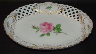 "ovale Schale ""Meissen"" rote Rose, 1.Wahl, 23x15 cm"