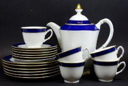 Restservice,Schumann-Arzberg,echt Kobalt,Goldrand,6 Teller,6 U.T., 5 Tassen und eine Kanne
