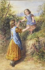 Lot 71 - Joseph Bouvier, British (fl.1839-1888) A young woman helping a girl down from the steep bank of a