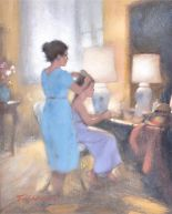 Lot 66 - Tom Quinn (1918-2015) British a peaceful domestic scene depicting two young women at a dressing