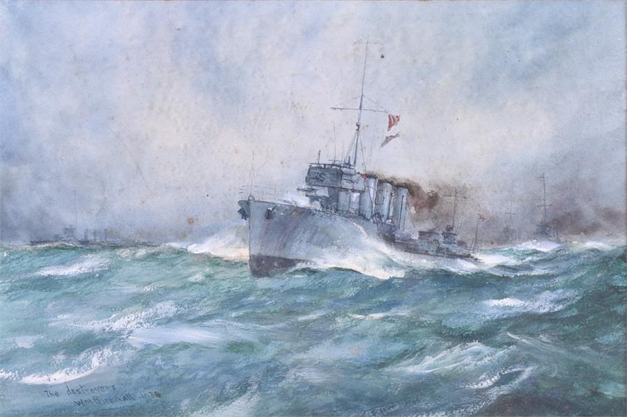 Lot 65 - William Minshall Birchall (1884-1941) British The Destroyers, 1936, watercolour, signed to lower