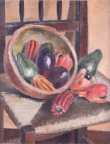 Lot 74 - Vera Alabaster (1889-1964) Scottish still life with gourds, oil on board, signed to lower left,