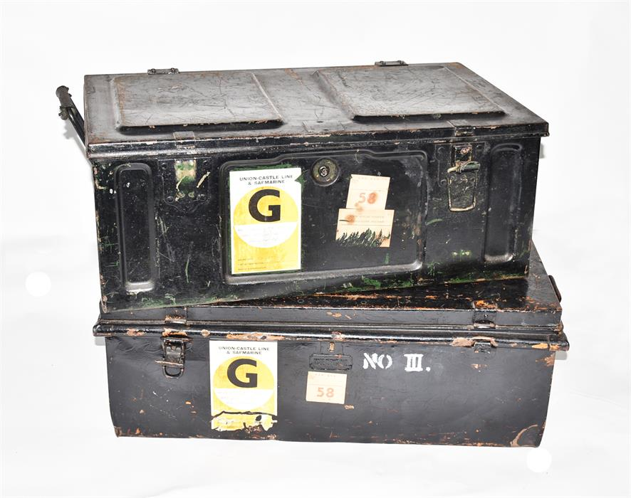 Lot 39 - Two black painted metal travelling trunks both with carrying handles.