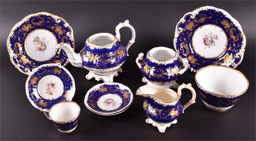 Lot 434 - A Victorian ceramic part tea set to include teapot, sugar bowl, cream jug, finger bowl, cup, three