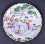 Lot 170 - A late 18th/19th century hand painted Chinese porcelain dish highly detailed depiction of an elder