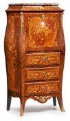 Kl. Damensekretär, Louis-XV-Stil, Frankreich 20. Jh. Rosenholz u. Palisander furn., florale