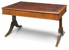 Schreibtisch, Regency-Stil, England 20. Jh. Mahagoni furn. Rechteck. Platte m. braunem goldgeprägten