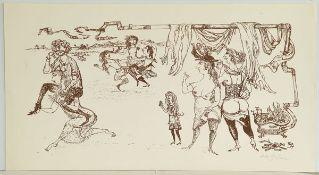 Bachem, Bele Lithographie auf Papier, 25 x 52,5 cm Aufwartung in der Dreigrazienposition (1969)