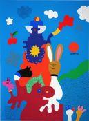 Alt, Otmar Farbsiebdruck mit schwarzem Filzstift überarbeitet auf Papier, 87 x 64 cm Wettlauf