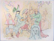 Cocteau, Jean Farblithographie auf Bütten, 48 x 60,5 cm Saint Pierre outragé par les Soldats de