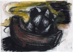 Chevalier, Peter Pastell und Gouache auf Zeichenblockpapier, 17 x 24 cm Ohne Titel (1983) Verso