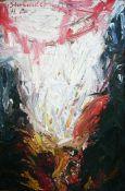 Best, Hartmut Öl auf Hartfaserplatte, 125 x 83,2 cm Sterbender Vogel (1990) Monogrammiert,