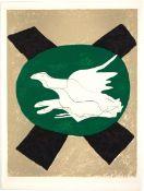 Braque, Georges Farblithographie auf Bütten, 31,5 x 24,5 cm Oiseau sur fond de X (1958) Vallier 122.