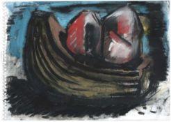 Chevalier, Peter Pastell und Gouache auf Zeichenblockpapier, 17 x 23,8 cm Ohne Titel (1983) Verso