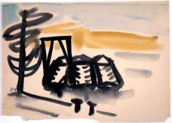 Baak, Paul Gouache auf Papier, 28 x 38,7 cm Ohne Titel (1971) Monogrammiert und datiert. An der