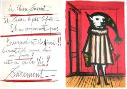 Buffet, Bernard Farblithographie auf doppelbogigem Arches Bütten Le chien savant (1968) Solier No