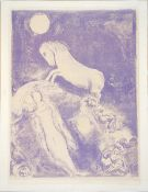 Chagall, Marc Lithographie in Violett auf Papier, 37,7 x 38,5 cm He went up to the couch and found a
