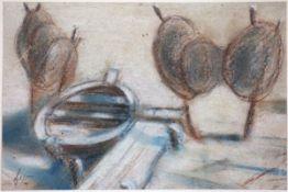 Baak, Paul Pastellkreide und Bleistift auf Papier, 14,1 x 21,2 cm Boot und Netze (1945)