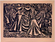 Barlach, Ernst Holzschnitt auf hellbraunem Papier, 25,2 x 36,2 cm Totentanz II (1922) Siehe Schult