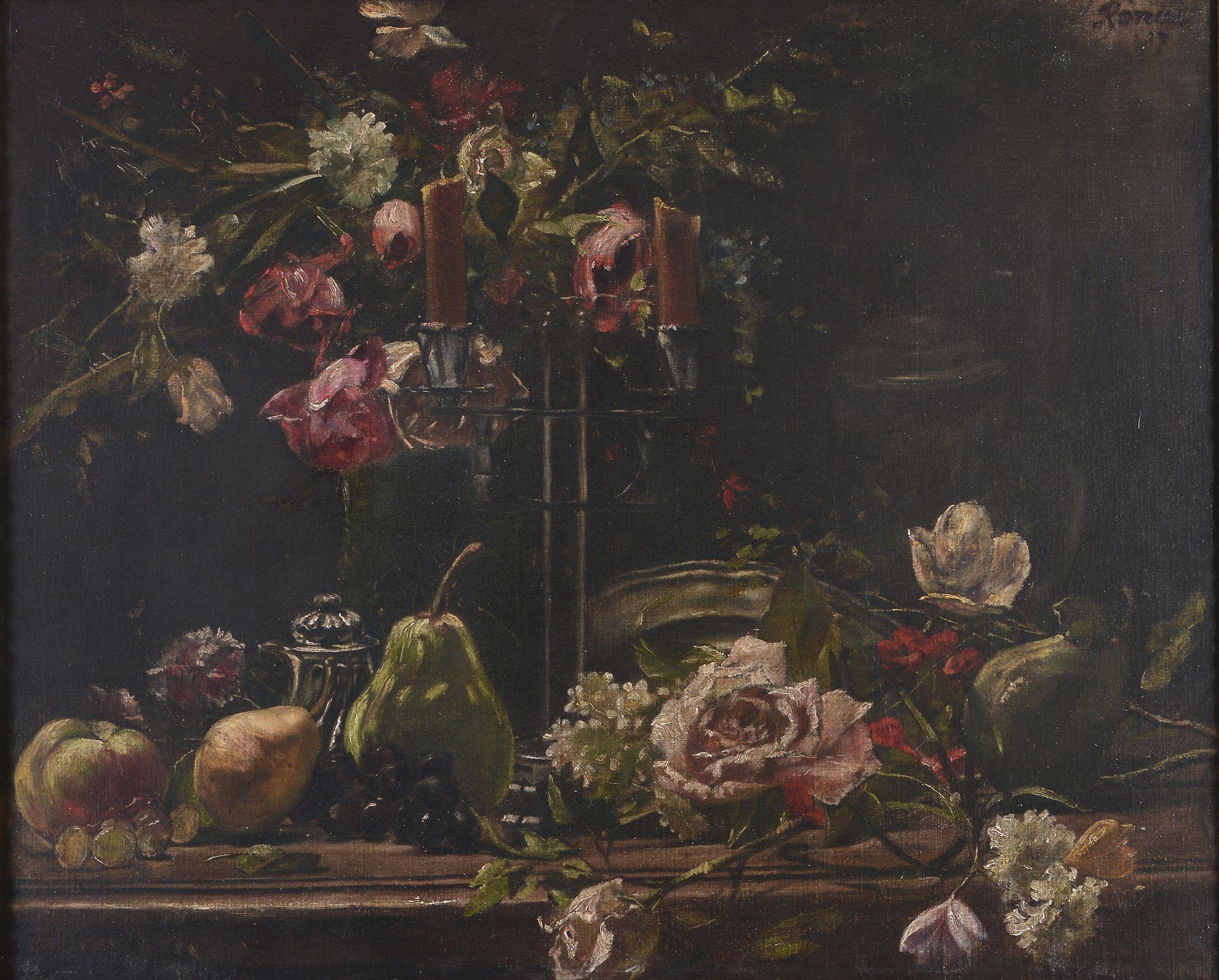 Attributed to Jozsef Rippl-Ronai Still life with flowers and fruit Oil on... Attributed to Jozsef